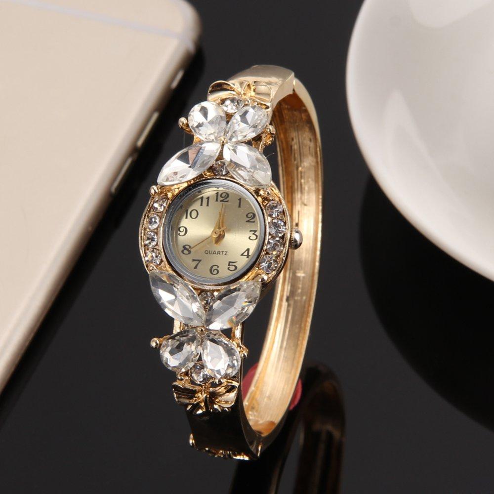 3; Jenewa perhiasan emas-fil kupu-kupu kristal kuarsa gelang jam tangan No