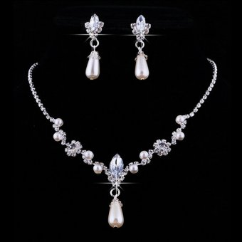 Jetting Buy Bridal Pernikahan Super Pesona Mutiara Imitasi Kalung Perhiasan Set Anting-Anting Berlian Imitasi