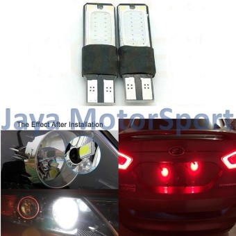 JMS - 1 pair (2 pcs) Lampu LED Plasma Mobil / Motor / Senja T10 /Wedge Side Canbus COB 24 SMD - Red - 2