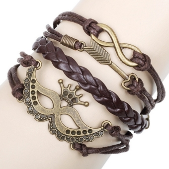 In Alloy Anchor Rudder Leather Friendship Love Couple Charm Bracelet (Multicolor) Terbaru