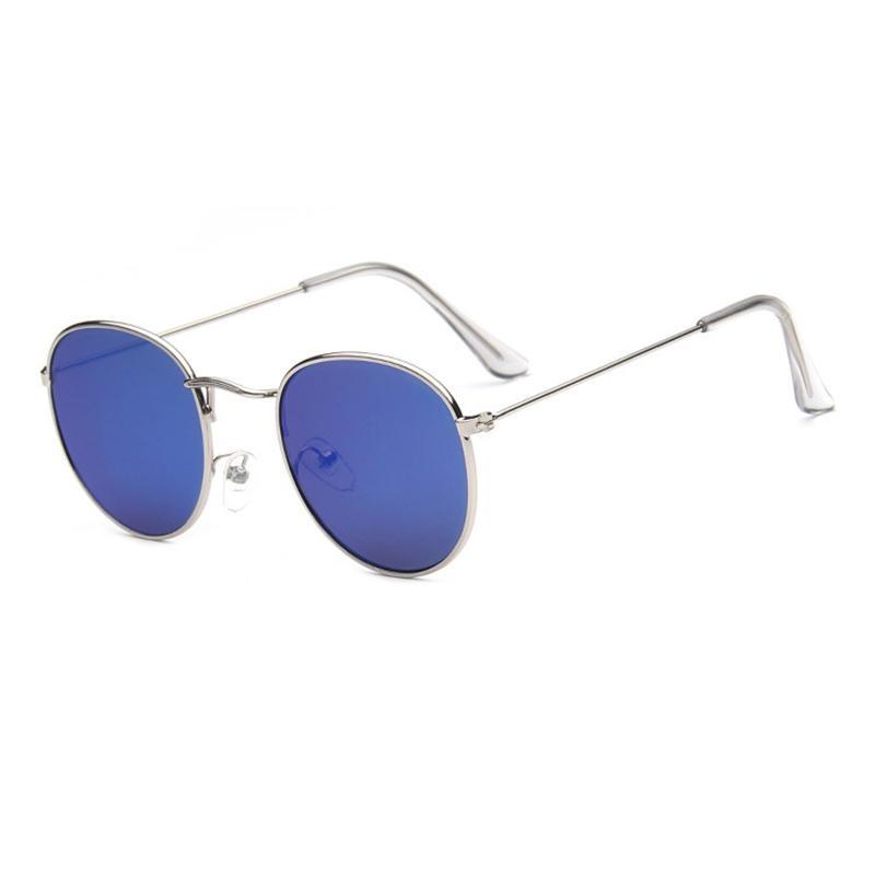 ... Kacamata baru tren Round Sunglasses cerah reflektif berjemur kacamata-Silver bingkai hijau Film ...