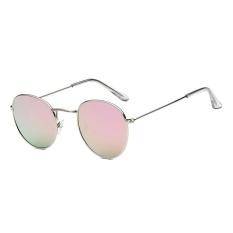 Kacamata Baru Trend Bulat Sunglasses Cerah Reflektif Berjemur Kacamata-Emas Kotak Barbie Powder Film