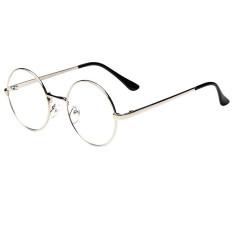 Kacamata Bergaya Retro With Frame Berbahan Logam Bulat Warna Perak With Lensa Mata Yang Bening, Cocok untuk Pria And Wanita