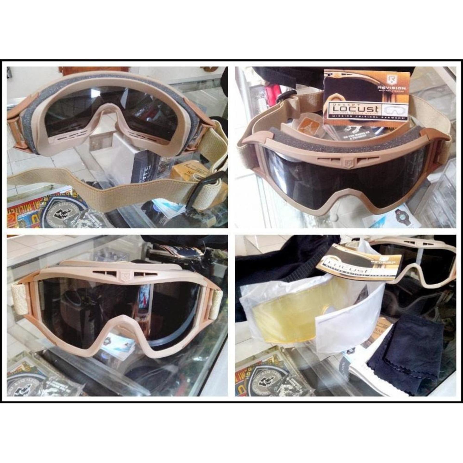 Kacamata Gurun 3 Lensa / Google Locust Desert USA (untuk airsoft /sepeda motor .