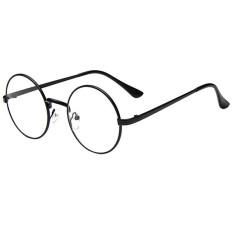 Kacamata Hitam Kacamata Bergaya Retro With Bingkai Bulat Berbahan Logam And Lensa Mata Yang Bening, Cocok untuk Pria And Wanita