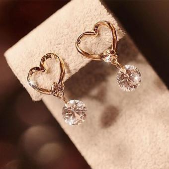 Kadis 24 KB berlapis emas keindahan perhiasan hati Gloden Doubleanting- anting - International. >>>>