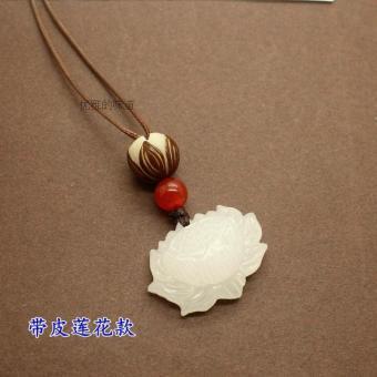 harga Kalung Wanita Unik Pendek Bahan Batu Akik Model Bunga Teratai Giok Putih Lazada.co.id