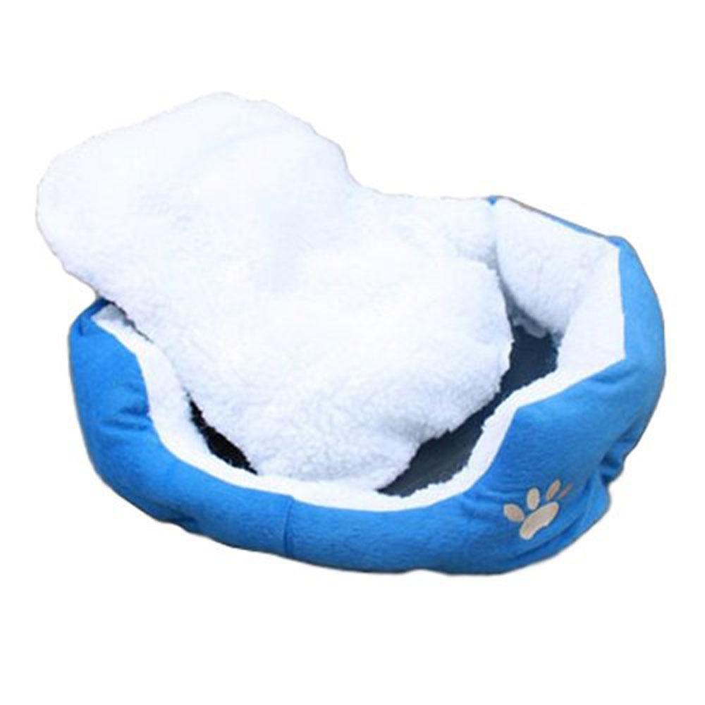 koklopo Comfortable Puppy Kitten Nest Pad Soft Fleece Bed(M,DarkBlue) - intl