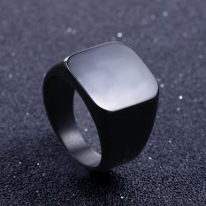 Kualitas tinggi solid stainless steel Ring Band Titanium perak Black emas pria ukuran 6 untuk 15 pernikahan-hitam