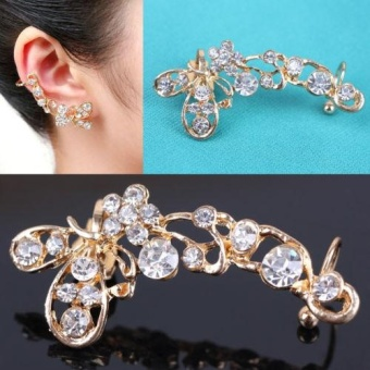 Kuhong Chic Retro Crystal Butterfly Flower Gold Ear Cuff Stud Earring Wrap Clip On Ear -
