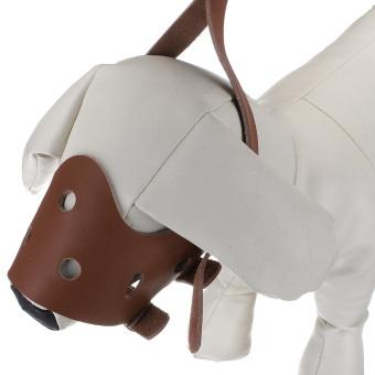 Kulit yang dapat disesuaikan moncong anjing peliharaan yang dapat mencegah gigitan masker mulut moncong anjing coklat