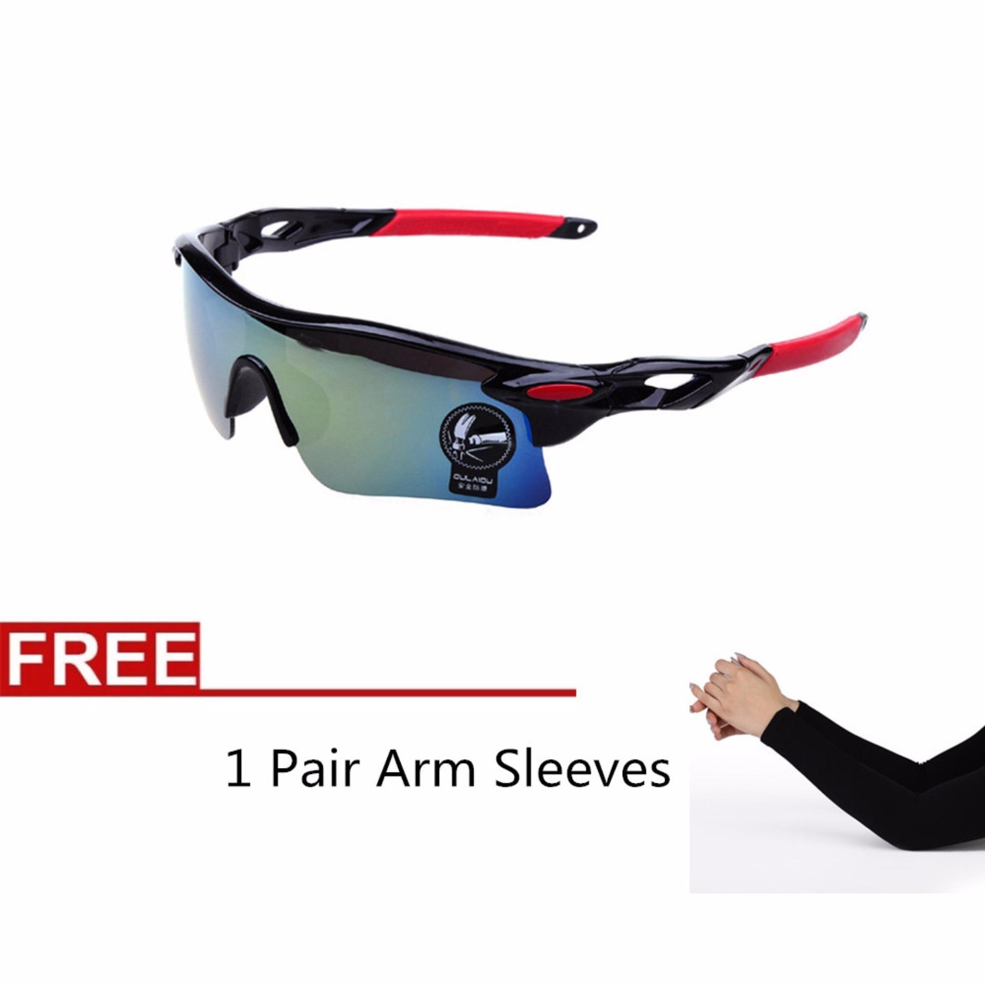 Flash Sale La Vie pria 's berjemur kacamata UV400 kacamata untuk olahraga outdoor sepeda Sepeda kacamata + 1 pasang lengan lengan