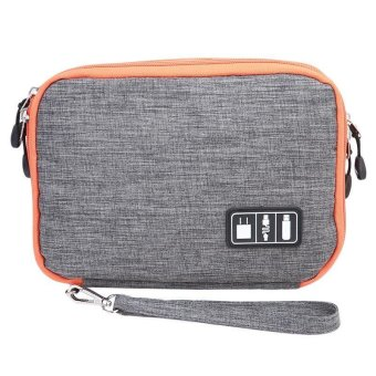 LALANG Waterproof Double Layer Travel Digital Storage Bag Electronic Accessories Pouch Organizer S (Grey)