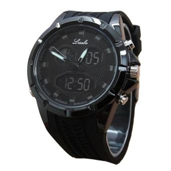 Lasebo LSB6255 Dualtime - Jam Tangan Sport Pria - Rubber - Black