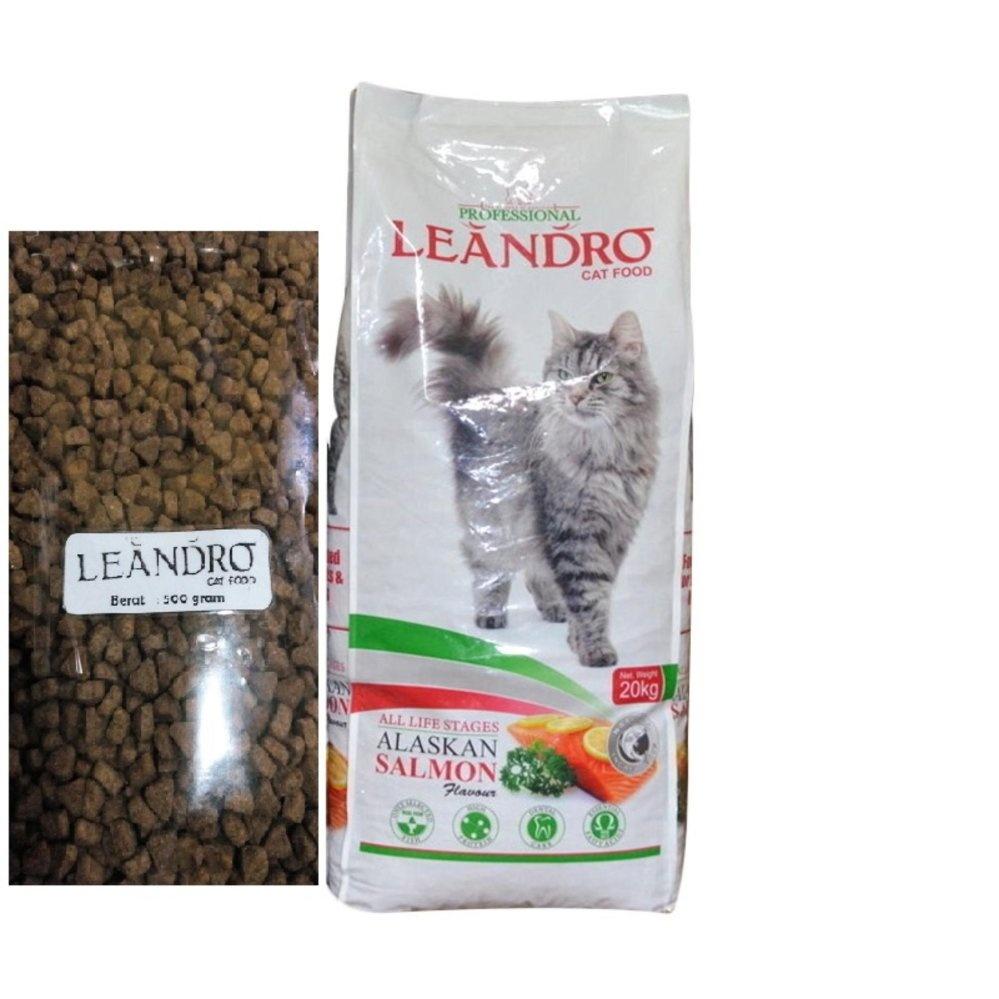 Leandro Cat Alaskan Salmon Makanan Kucing Repack [500g]