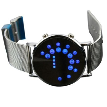 LED Round Mirror Blue Circles Stainless Steel Watch Silver - intl - 2