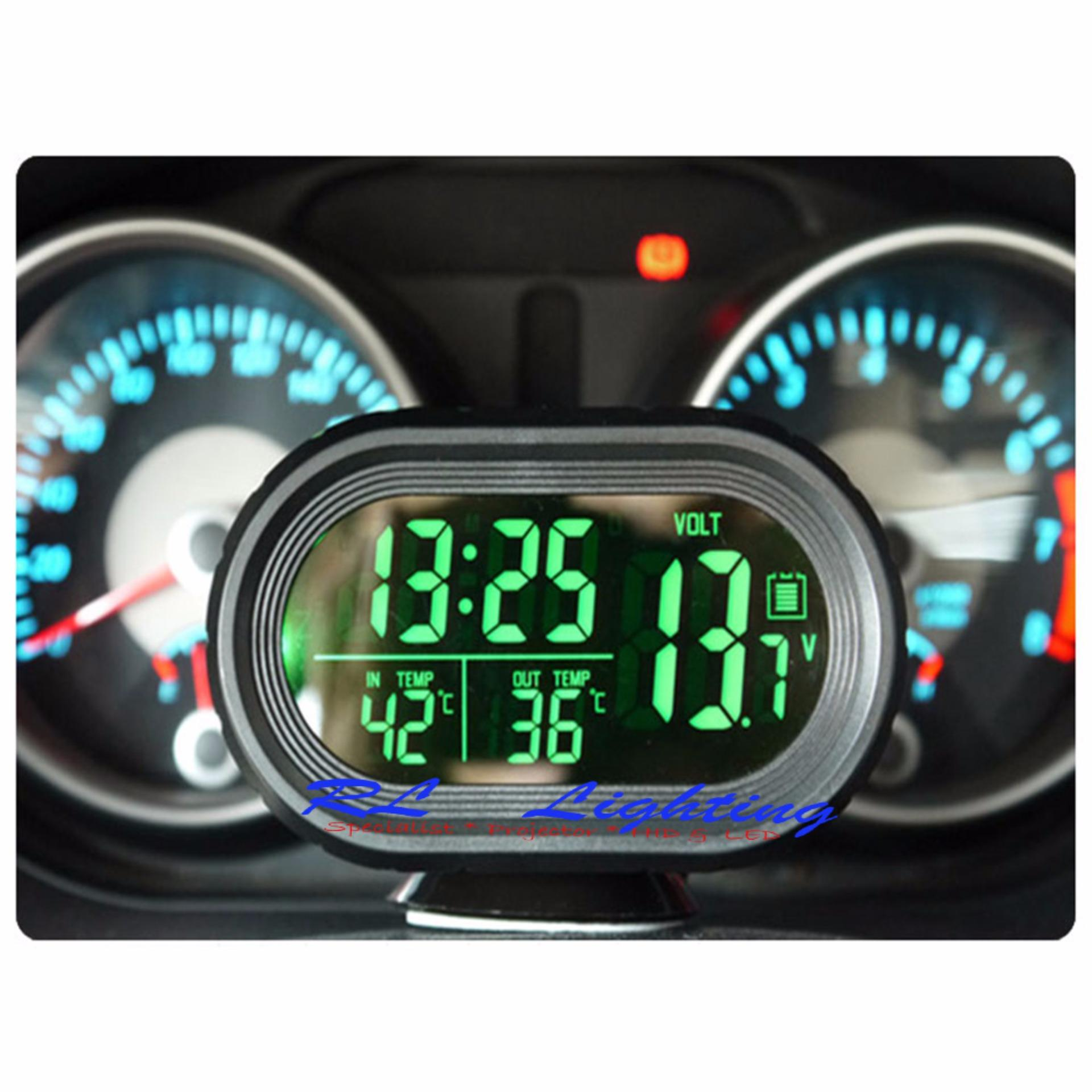 Led Voltmeter Digital 4in1 Jam Suhu 2 Backlight Hijau Mdl 038g 036 Dc 47v 32v Kabel Nyala Biru Orange