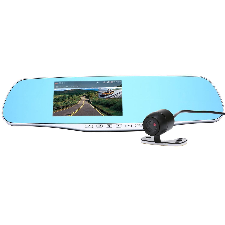 ... Leegoal depan dan belakang diameter cam 1080P kamera lensa ganda spion 4.3 inci dengan parkir mobil ...