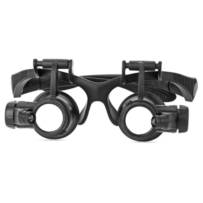 Lensa 10 x 15 x 20 x 25 x reparasi arloji kaca pembesar dengan kepala memakai dan tangan - Gratis 2 lampu LED - International