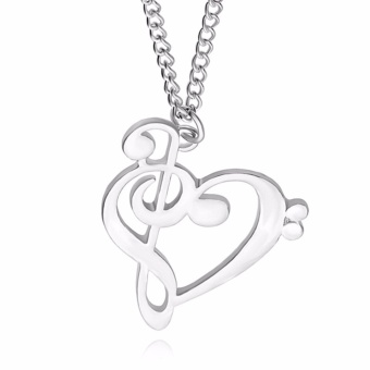 Love Heart Treble Clef Music Note Elegan Silver Plated Pendant Kalung Perak-Internasional