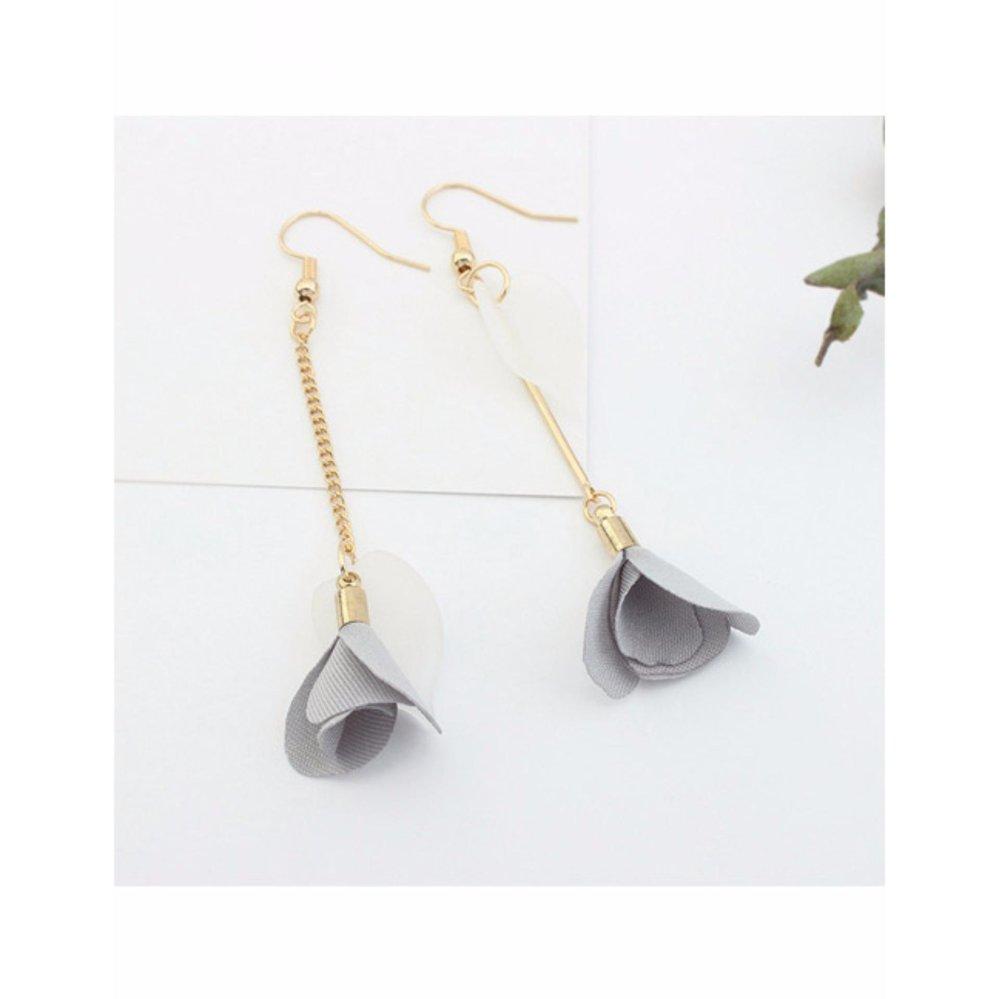 ... LRC Anting Elegant Gray Flower Pendant Decorated Tassel Design Color Matching Earrings ...