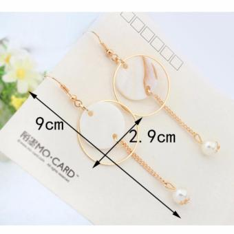 LRC Anting Fashion White Round Shape Decorated Simple Hollow Out Simple Earrings .