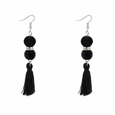 LRC Anting Gantung Bohemia Fuzzy Ball Decorated Tassel Earrings