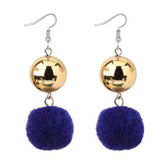LRC Anting Gantung Elegant Fuzzy Ball Decorated Pom Earrings