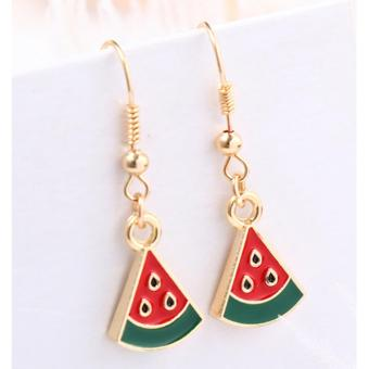 LRC Anting Gantung Fashion Red Watermelon Shape Decorated Earrings
