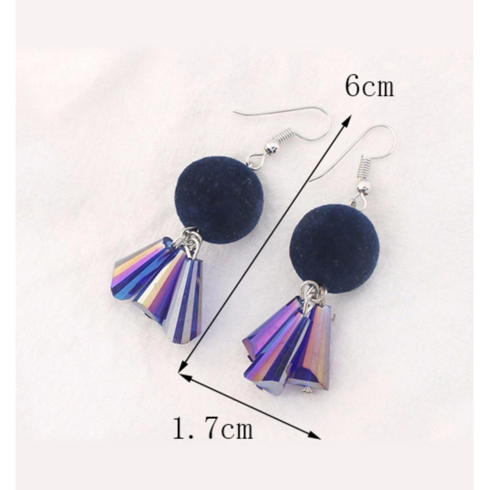 LRC Anting Gantung Trendy Milk White Fuzzy Ball Decorated Color Matching Earrings .