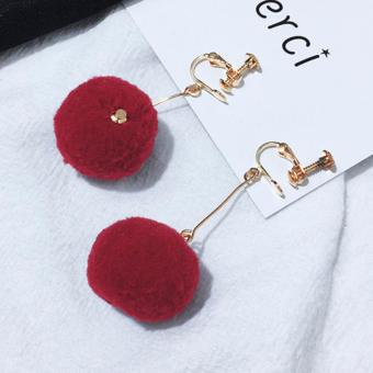 LRC Anting Jepit Elegant Claret Red Fuzzy Ball Pendant Decorated Pure Color Simple Earrings