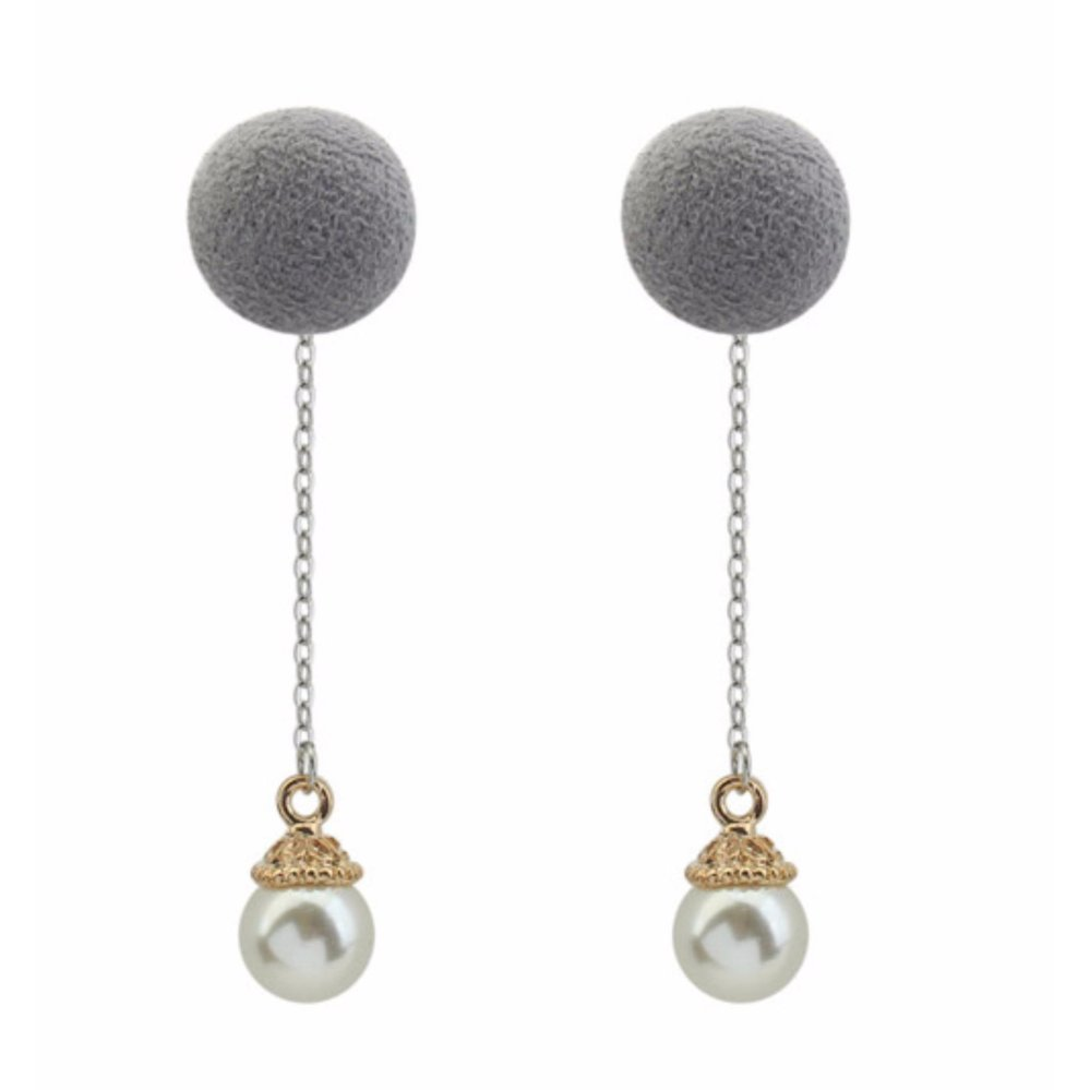 ... LRC Anting Tusuk Fashion Grey Pearls & Fuzzy Ball Decorated Color Matching Long Earrings ...