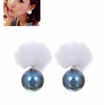LRC Anting Tusuk Lovely Light Blue Fuzzy Ball Decorated Earrings