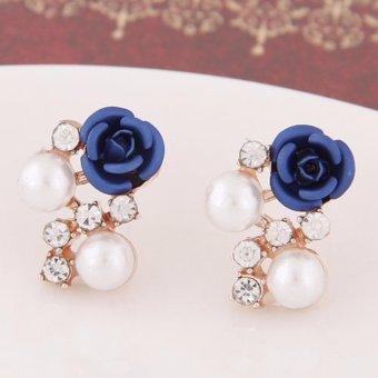 LRC Anting Wanita Sweet Dark Blue Diamond&rose Flower Decorated Simple Design Alloy Stud Earrings