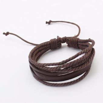 LRC Gelang Tangan Elegant Dark Coffee Pure Color Decorated Multilayer Bracelet