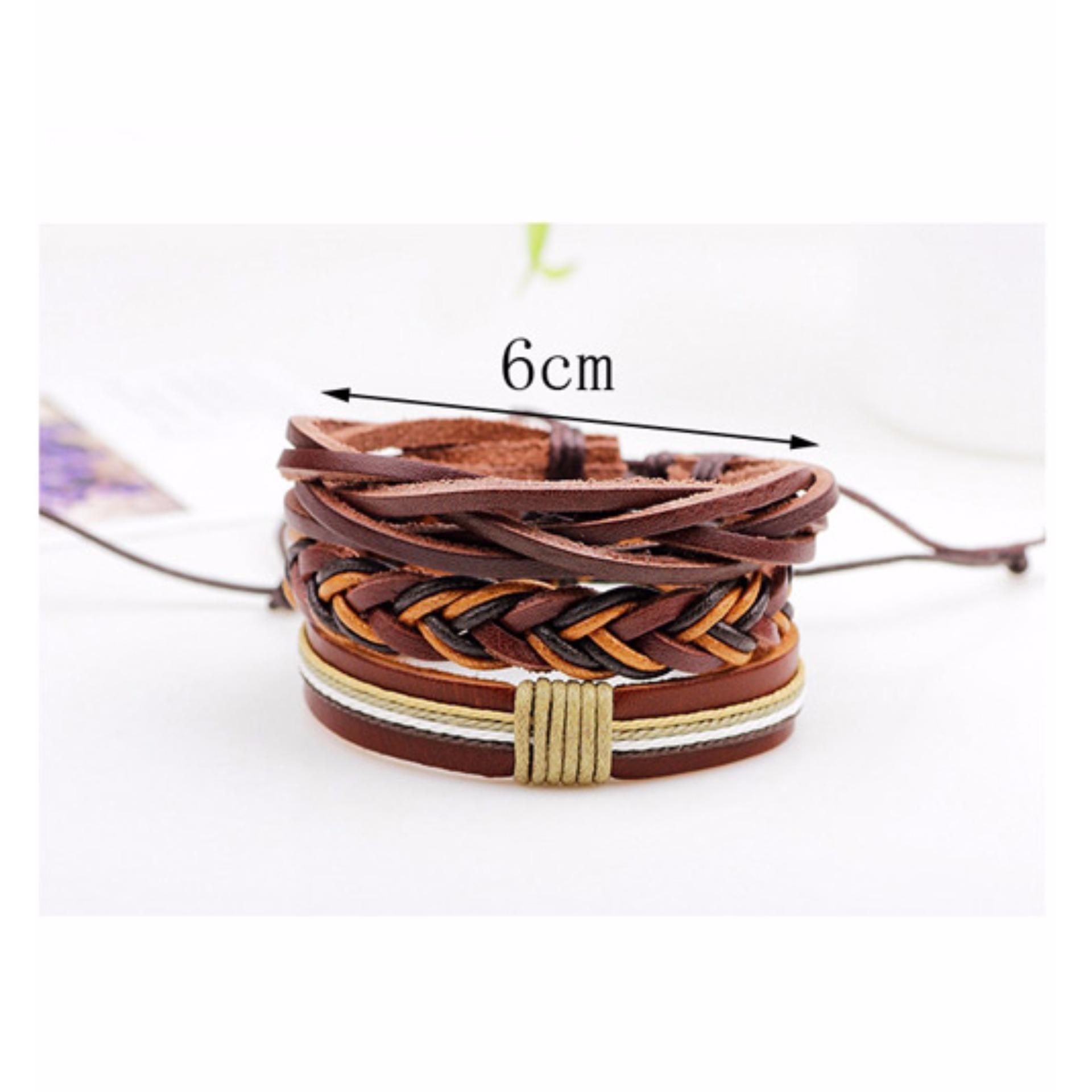LRC Gelang Tangan Pria (3Pcs) Fashion Brown Color Matching Decorated Simple Bracelet .