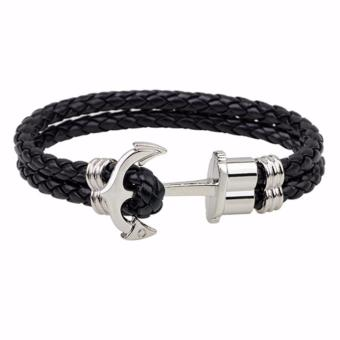 LRC Gelang Tangan Pria Fashion Black Anchor Decorated Duble Layer Hip-hop Simple Bracelet