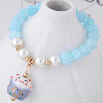 LRC Gelang Tangan Sweet Cat Shape Pendant Decorated Beads Bracelet