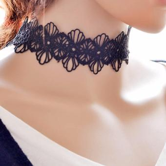 LRC Kalung Wanita Vinatge Black Hollow Out Design Simple Lace Choker Necklace