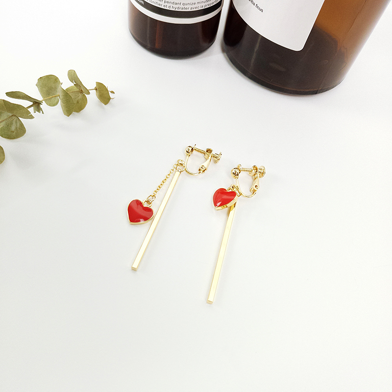 Cheap online Lucu Cinta Merah Hati Anting