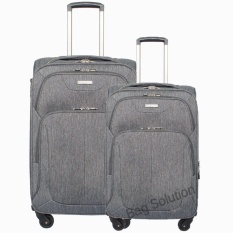 Luminox Tas Koper Set Softcase Resleting Anti Tusuk - 4 Roda - Kunci TSA 3875 Size 20+24 Inch - Black