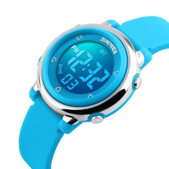 Luxury Brand Skmei Coloful LED Digital Children Girl Blue Silicone Strap Sports Watches Student Fashion Wristwatches 1100 Original (Blue) - intl