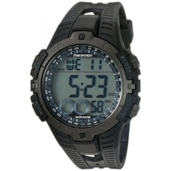 Marathon by Timex Mens T5K802 Digital Full-Size Black/Gray Resin Strap Watch - intl