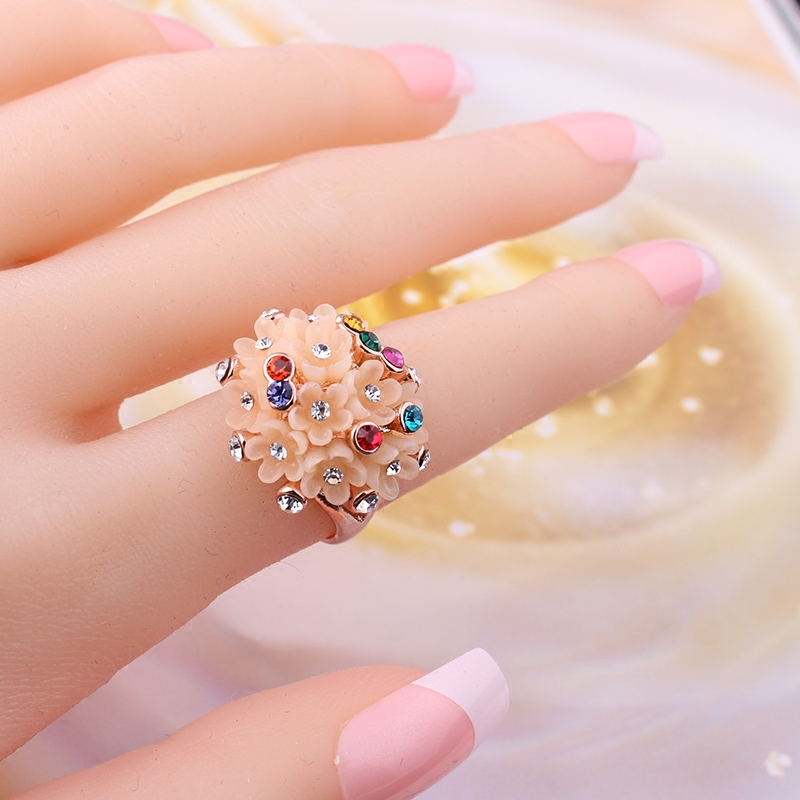 Masuknya orang 18K Jepang dan Korea Selatan Shishang berlian bunga cincin jari telunjuk