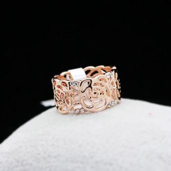 Harga Penawaran Masuknya orang 18K perempuan naik cincin bunga cincin Belanja Terbaik