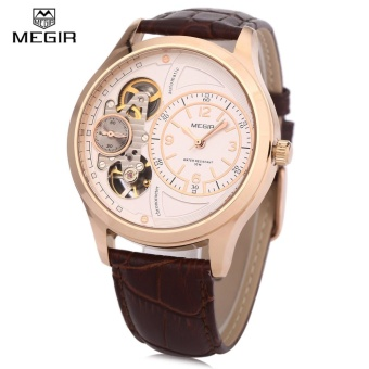 MEGIR 2017G Men Quartz Watch 30M Water Resistance Leather Band Wristwatch - intl