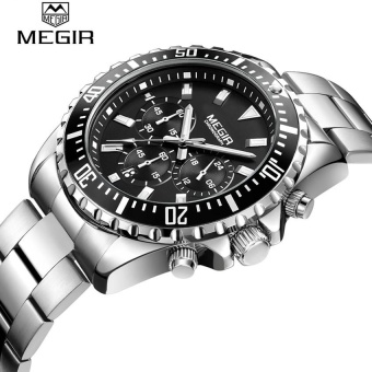 Megir 2064 Men Fashion Sports Stainless Steel Watch Analog Quartz Wristwatch Multifunction Chronograph Wrist watches Hombre