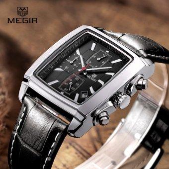 Megir Fashion Casual Military Chronograph Quartz Watch Men Luxury Waterproof Analog Leather Wrist Watch 2028 - intl