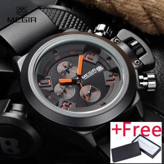 Megir Fashion Mens Silicone Band Sport Quartz Wrist Watch Jam Tangan es Analog Display Chronograph Black Watch Jam Tangan for Man with Calendar 2002