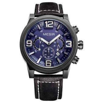 MEGIR Jam Tangan Pria Chronograph Leather Military Sports Quartz Wristwatch ML 3010 G/BK-2 - Blue